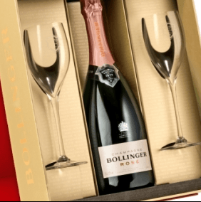 Bollinger Rose Champagne 2 Riedel Glasses gift set