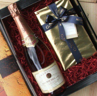 Pink (Rose) Champagne and Belgian Chocolates gift