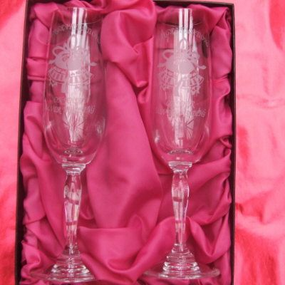 Two Silver wedding crystal glasses